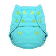 Lagoon - Tuck-Wrap-Go Cover - Size 1 - Nuggles Designs Canada - This is a waterproof cover. Use it with an absorbent insert, or over a fitted diaper. You can also use it over a disposable diaper to prevent blowouts (think long car-rides, bouncy chairs etc.) Just rinse, wash, dry, reuse! #newborndiapers #clothdiapers #diapers #bestdiapers #canadian #babygear #infantsandbaby #clothdiapering #clothdiapercovers #bestforbaby #babyregistry