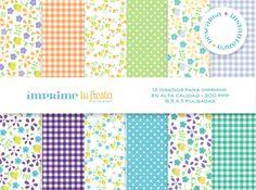 Digital Papers Kit  Simple Flowers  Papers for por ImprimeTuFiesta