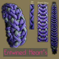 Entwined Hearts Paracord Bracelet Designs, Paracord Knots, Paracord Ideas, Paracord Keychain, Paracord Projects, Paracord Bracelets, Chinese Knotting, Diy Ideas, Craft Ideas