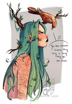 Love bird by Gretlusky on DeviantArt Fantasy Character Design, Character Drawing, Character Design Inspiration, Art Drawings Sketches, Cute Drawings, Sketches Of Cartoons, Pretty Art, Cute Art, Arte Sketchbook