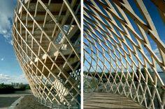 Avanto Architects, steam bent, wooden, Korkeasaari Zoo, tower, linen oil, Air quality, Architecture, Green Materials, energy efficiency, helsinki, finland
