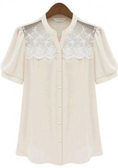 Apricot Plain Falbala Short Sleeve Wrap Chiffon Blouse