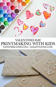 Valentines Day Printmaking with Kids!nannyshecando… - Easy Crafts for All Valentine Crafts For Kids, Valentines Day Activities, Valentines Day Hearts, Valentine Day Crafts, Kindergarten Art, Preschool Art, Stencils For Kids, Creative Crafts, Easy Crafts