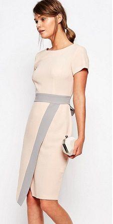 peach gray sheath dress