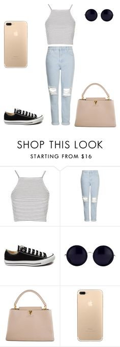 """Sans titre #38"" by naolinewooz on Polyvore featuring mode, Topshop, Converse, Linda Farrow et Louis Vuitton"