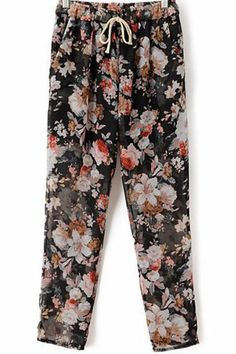 Black Drawstring Waist Floral Chiffon Pant pictures