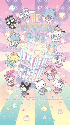 Hello Kitty Iphone Wallpaper, Sanrio Wallpaper, Cute Anime Wallpaper, Wallpaper Iphone Cute, Cute Cartoon Wallpapers, Animes Wallpapers, Hello Kitty Backgrounds, Wallpaper Stickers, Stars Wallpaper