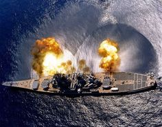 USS Iowa (BB-61) fires a full broadside during a target exercise near Vieques Island Puerto Rico 1 July 1984.