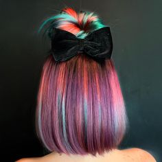 Put a bow on it and style it cute! I love having so many colors and dimension that you can see when… Shot Hair Styles, Curly Hair Styles, Natural Hair Styles, Beautiful Hair Color, Cool Hair Color, Pelo Multicolor, Coloured Hair, Pretty Hairstyles, Hair Looks