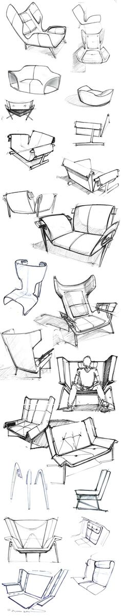 sketches of the Deca Lounge Chair by Larry Parker.
