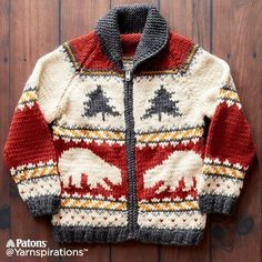 Yarnspirations is the spot to find countless free easy crochet patterns, including the Patons True North Knit Jacket, XS/S. Nordic Pullover, Nordic Sweater, Knitting For Kids, Baby Knitting, Pullover Upcycling, Pull Jacquard, Cowichan Sweater, Animal Sweater, Knit Baby Sweaters
