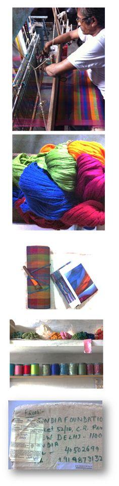 Maheshwar-huivien tuotekehitysprojekti: Silkkipuuvillahuivien tuotanto Intiassa //  Suunnittelija/Designer: TE10, 2013 // Yhteistyökumppanit/Partners: Findia Foundation, Kutomo Aasim