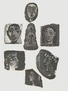 """""""Faces""""  Pablo Picasso, 1951 Original, RARE, Heliogravure, Free Shipping #Surrealism"""