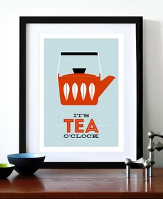 Cathrineholm poster print Mid Century Modern home kitchen art tea coffee - It's Tea O'clock Red A3. $29.00, via Etsy.
