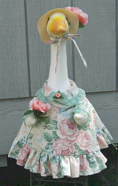"Roses and shells summer outfit for 24-26"" cement lawn geese or garden goose by KraftKorner on Etsy"