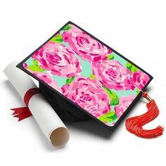 Floral Pattern Grad Cap Tassel Topper