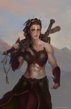 Image from fantasy and syfy..with some cats..NSFW — imthenic: Jeska, Warrior Adept by merkymerx