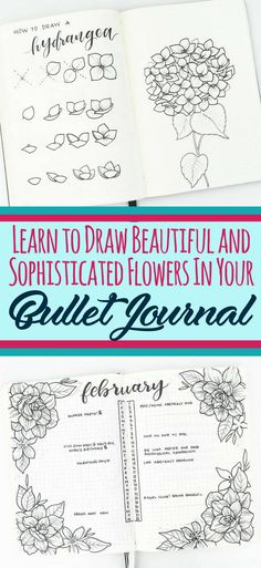 Learn to draw beautiful and sophisticated flower doodles in your bullet journal! These bullet journal doodles are the perfect decoration for any layout. Beautify your bujo with ease by using these epic flower tutorials. Easy Flower Drawings, Flower Drawing Tutorials, Easy Drawings, Drawing Flowers, Drawing Ideas, Sketch Drawing, Sketches, Circle Drawing, Sketch Ideas