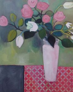 "Daily Painters Abstract Gallery: Contemporary Abstract Still Life Flower Art Painting ""Roses and Tulips"" by Santa Fe Artist Annie O'Brien Gonzales"