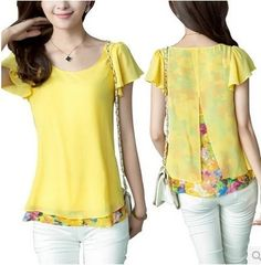 2014 New Plus Size Floral Fashion Women's Chiffon Blouses Shirts Puff Sleeve Short Flower Print Shirt Top For Summer
