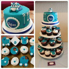 Turquoise Baby shower cake with horse topper and matching cupcakes.
