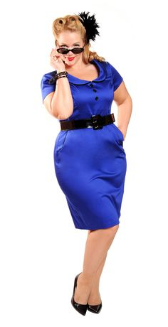 Take a look at the Cherry Velvet Royal Blue Annette Dress - Women & Plus on today! Plus Size Womens Clothing, Plus Size Fashion, Clothes For Women, Women's Clothes, Plus Size Dresses, Dresses For Work, Dress Outfits, Cute Outfits, Full Figure Fashion