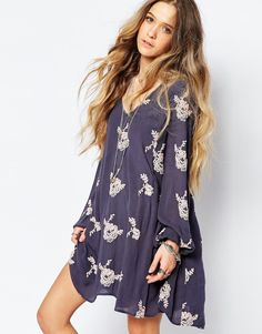 Free People Emma's Embroidered Smock Dress in Elderberry