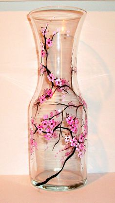 Hand Painted Wine Carafe Cherry Blossom Fall Leaves Peacock Feather Shamrock 4 Leaf Clover Handpainted Decanter by SharonsCustomArtwork on Etsy