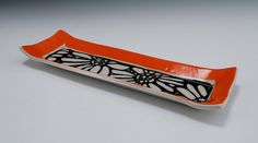 Tray with Sgraffito Flower Design by AllenDesignStudio on Etsy