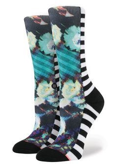 Mixed striped and floral sublimated prints cover these crew socks crafted with combed cotton blends, springy elastic arch support and deep heel pockets for a perfect fit that keeps your feet comfortab