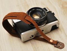 Brown leather wrist strap for camera by Qwaydani on Etsy, $20.00