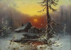 Winter Landscape with Mill, Valerian V Babadin Winter Landscape, Landscape Art, Landscape Paintings, Winter Painting, Winter Art, Classic Paintings, Easy Paintings, Nostalgia Art, Hallway Art