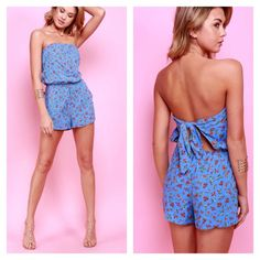 New! Strapless Floral Short Romper Floral Patterned Tube Top Strapless Short Romper with open back self tie and pockets.. Material: Rayon  True to size  COLOR:  Coral/ Taupe                  Blue/ Coral/ Cream   SIZE:     S (2-4)               M (6-8)               L (10-12) Dresses