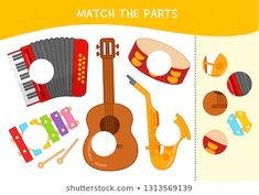 Matching Children Educational Game Match Parts Stock Vector (Royalty Free) 1313569139 - Shutterstock Music Flashcards, Flashcards For Kids, Music Worksheets, English Activities, Free Activities, Infant Activities, Matching Games For Toddlers, Music For Toddlers, Online Music Lessons