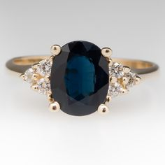 1.8 Carat Dark Blue Sapphire & Diamond Ring 14K Gold