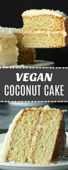 Fabulously coconutty two layered vegan coconut cake topped with a decadent coconut rum frosting. Super easy, moist, fluffy and dense at the same time (I know!) this delicious vegan cake is a total delight to the tastebuds! | lovingitvegan.com