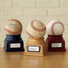 Kids Wooden Baseball Podium Trophy - contemporary - kids decor - by The Land of Nod Contemporary Kids Decor, Boys Baseball Bedroom, Baseball Nursery, Baseball Display, Trophy Display, Kids Storage, Ball Storage, Storage Ideas, Room Accessories