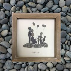 Family Picture, Pebble art, gift for Mum, Family gift, Personalised gift, new home, gift, rustic decor, gift for Dad, Family portrait, Family. This listing is for a custom design of a family pebble art picture which will be designed and created based on the information you give me.