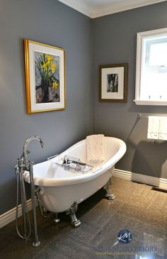Benjamin MOore Dior Gray is a great colour for home staging to add some personality to a room as shown in powder room