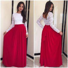 046d22e86e2 Lace High-waist Long Sleeves Pleated Splicing Long Dress