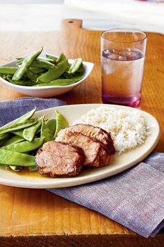 Plum Pork Tenderloin - Lightened Up Slow-Cooker Recipes - Southernliving. Recipe: Plum Pork Tenderloin Serve with jasmine rice to help soak up some of the sauce. Snow peas make a great side dish for rounding out your meal.