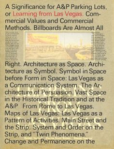Learning From Las Vegas, Facsimile Edition Learning From Las Vegas, Facsimile Edition By Robert Venturi, Denise Scott Brown and Steven Izenour A fascimile edition of the long-out-of-print large-format edition designed by design icon Muriel Cooper. Denise Scott Brown, Trade Books, Best Comments, Book People, Las Vegas Strip, Billboard, Book Design, Learning, Large Format