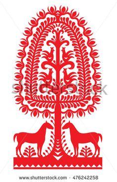 Stock Vector - Polish folk art pattern Wycinanki Kurpiowskie - Kurpie Papercuts Vector design of horse, tree and chickens - folk design from the region of Kurpie i Graphic Design Fonts, Vector Design, Fork Art, Polish Folk Art, Frozen Art, Wood Carving Designs, Scandinavian Folk Art, Animal Design, Pattern Art