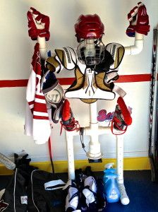 hockey dry rack cause stinky crap is unacceptable Cute for any sport or pool. Hockey Crafts, Hockey Decor, Hockey Room, Pvc Pipe Storage, Bike Storage, Shed Storage, Ice Hockey Rink, Hockey Goalie, Pipe Diy Projects