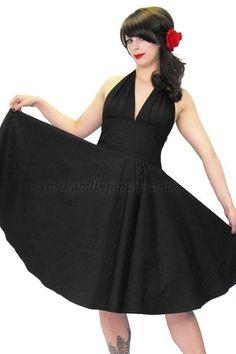 Black Cotton Feronia Rockabilly Swing Dress