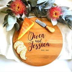 Hand Lettered Names | A personalised chopping board, engraved with choice of wording in a hand lettered font + date