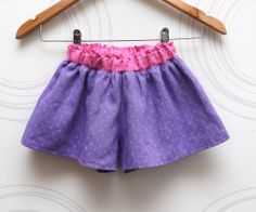 Lilac polka dot girls split skirt from soft linen by ZanziBach