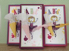 Einschulungskarte mit Kinderschokolade,Stempelset Stylin' Girl von Stampin up coloriert mit den Blendabilities in Himbeerot und Osterglocke