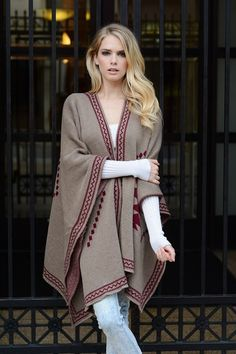 Diamond Back - womens poncho cape wrap cardigan outerwear kimino aztec shawl women sweaters boho bohemian hippie tribal USD) by Blivingstonapparel Hijab Fashion, Fashion Dresses, Ladies Poncho, Capes For Women, Knitted Poncho, Poncho Cape, Shawl Cardigan, Boho, Shawls And Wraps