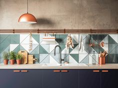 Luxury Kitchen / triangle tile backsplash / trendy color with copper accents / kitchen trends 2019 / - What's hot in the world of kitchen design? From appliances to aesthetics, take a look at the best kitchen trends for Kitchen Tiles Design, Modern Kitchen Design, Kitchen Colors, Interior Design Kitchen, Tiles For Kitchen, Colourful Kitchen Tiles, Patterned Kitchen Tiles, Funky Kitchen, Wall Tiles Design